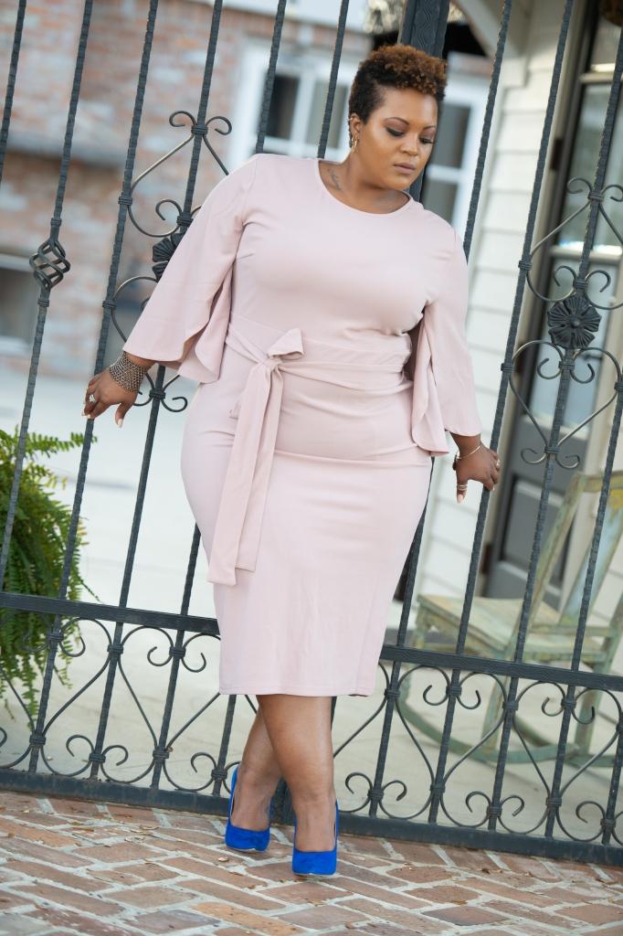 45995b0df5 SHEIN Plus Exaggerate Split Sleeve Pencil Dress